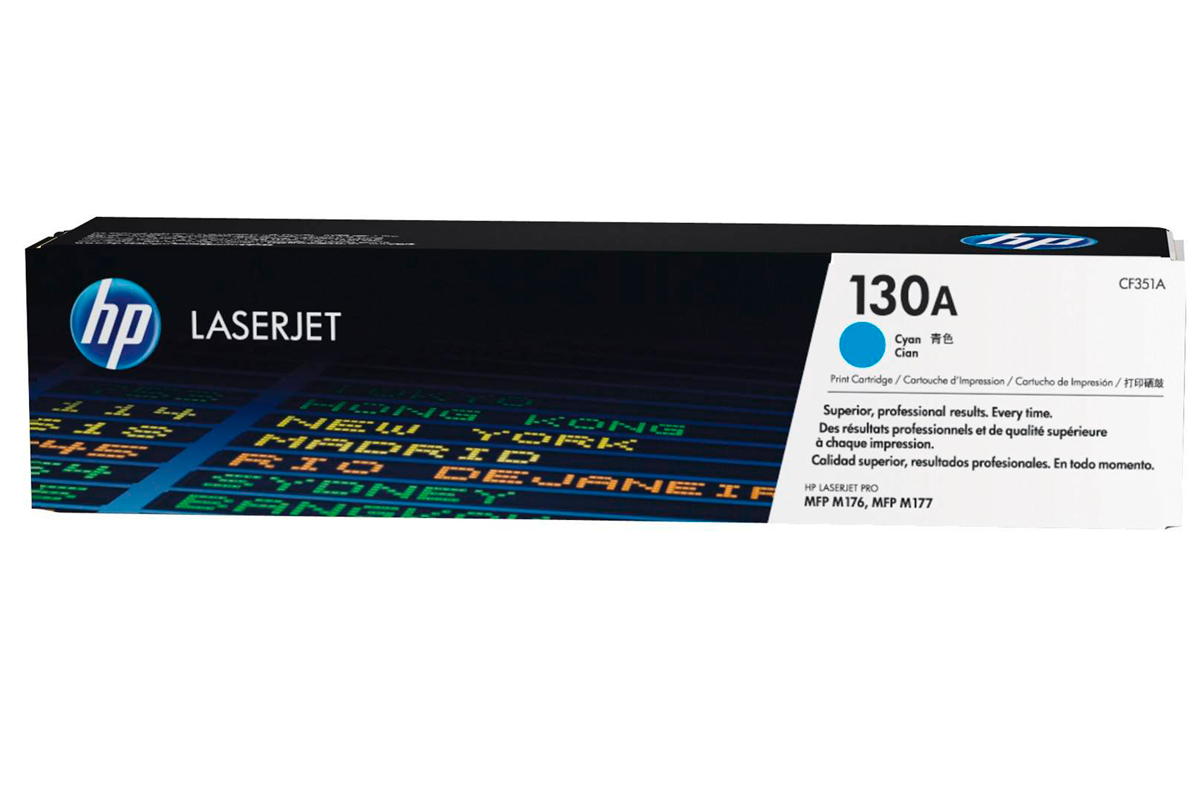 HP CF351A 130A Cyan Toner Cartridge for Color LaserJet Pro M176n/M177fw, up to 1000 pages.