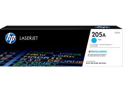 HP CF531A 205A Cyan LaserJet Toner Cartridge for M180n/M181fw, up pages 900 pages