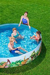 Детский круглый бассейн с жёстким бортом  Bestway 55001 (Dinosaurous Fill 'N Fun) (244х46см)