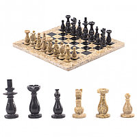 """Настольные шахматы """"Дебют"""" доска 30х30 см камень ракушечник мрамор"""