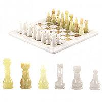 """Настольные шахматы """"Стандарт"""" доска 30х30 см камень оникс мрамор"""