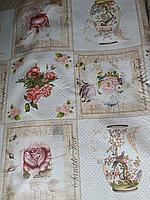 Скатерть клеенка декоративная столовая с цветами и вазами