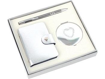Набор Чувства: шариковая ручка, зеркало, визитница, серебристый (Р)