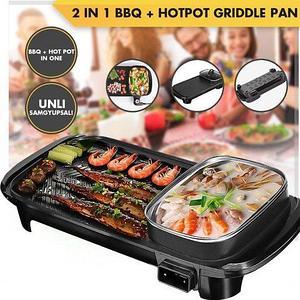 Барбекю-гриль электрический 2-в-1 BBQ Grill + Hot Pot с встроенной кастрюлей
