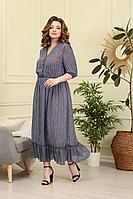 Женское летнее шифоновое голубое большого размера платье Anastasiya Mak 839 голубой 50р.