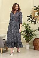 Женское летнее шифоновое синее большого размера платье Anastasiya Mak 839 темно-синий 50р.