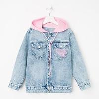 Куртка джинсовая для девочки, цвет голубой, рост 134 см
