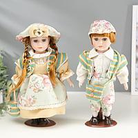 """Кукла коллекционная парочка набор 2 шт """"Валя и Витя в цветочных нарядах"""" 30 см"""