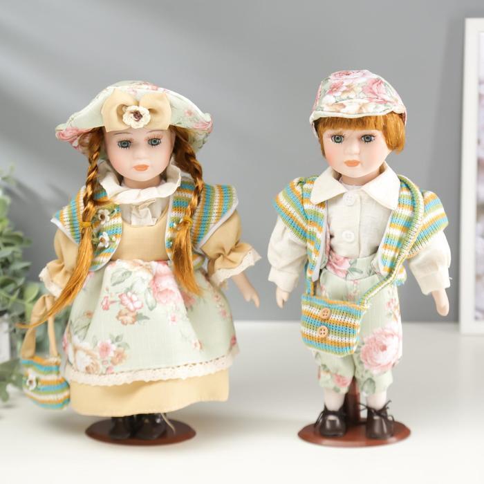 """Кукла коллекционная парочка набор 2 шт """"Валя и Витя в цветочных нарядах"""" 30 см - фото 1"""