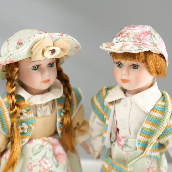 """Кукла коллекционная парочка набор 2 шт """"Валя и Витя в цветочных нарядах"""" 30 см - фото 2"""