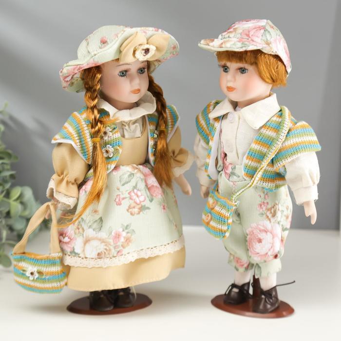 """Кукла коллекционная парочка набор 2 шт """"Валя и Витя в цветочных нарядах"""" 30 см - фото 3"""