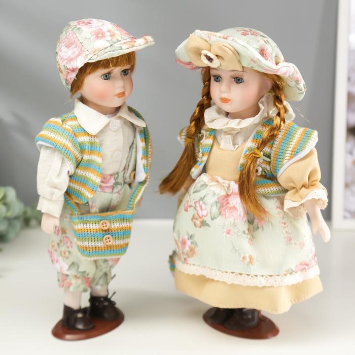 """Кукла коллекционная парочка набор 2 шт """"Валя и Витя в цветочных нарядах"""" 30 см - фото 4"""