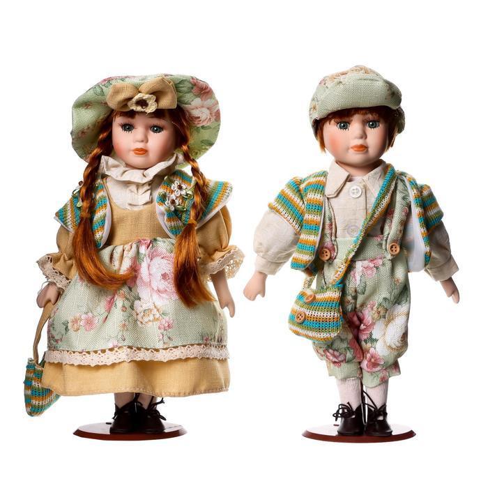 """Кукла коллекционная парочка набор 2 шт """"Валя и Витя в цветочных нарядах"""" 30 см - фото 6"""