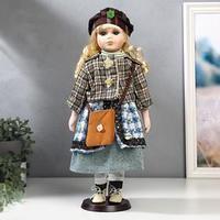 Кукла коллекционная керамика 'Блондинка с кудрями, клетчатый зелёный пиджак' 40 см