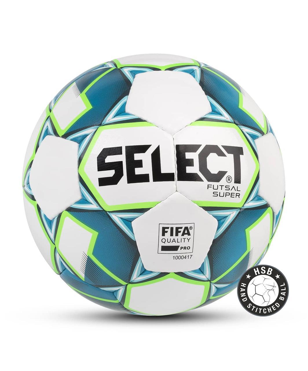 Мяч футзальный FUTSAL SUPER FIFA №4, бел/син/зел Select