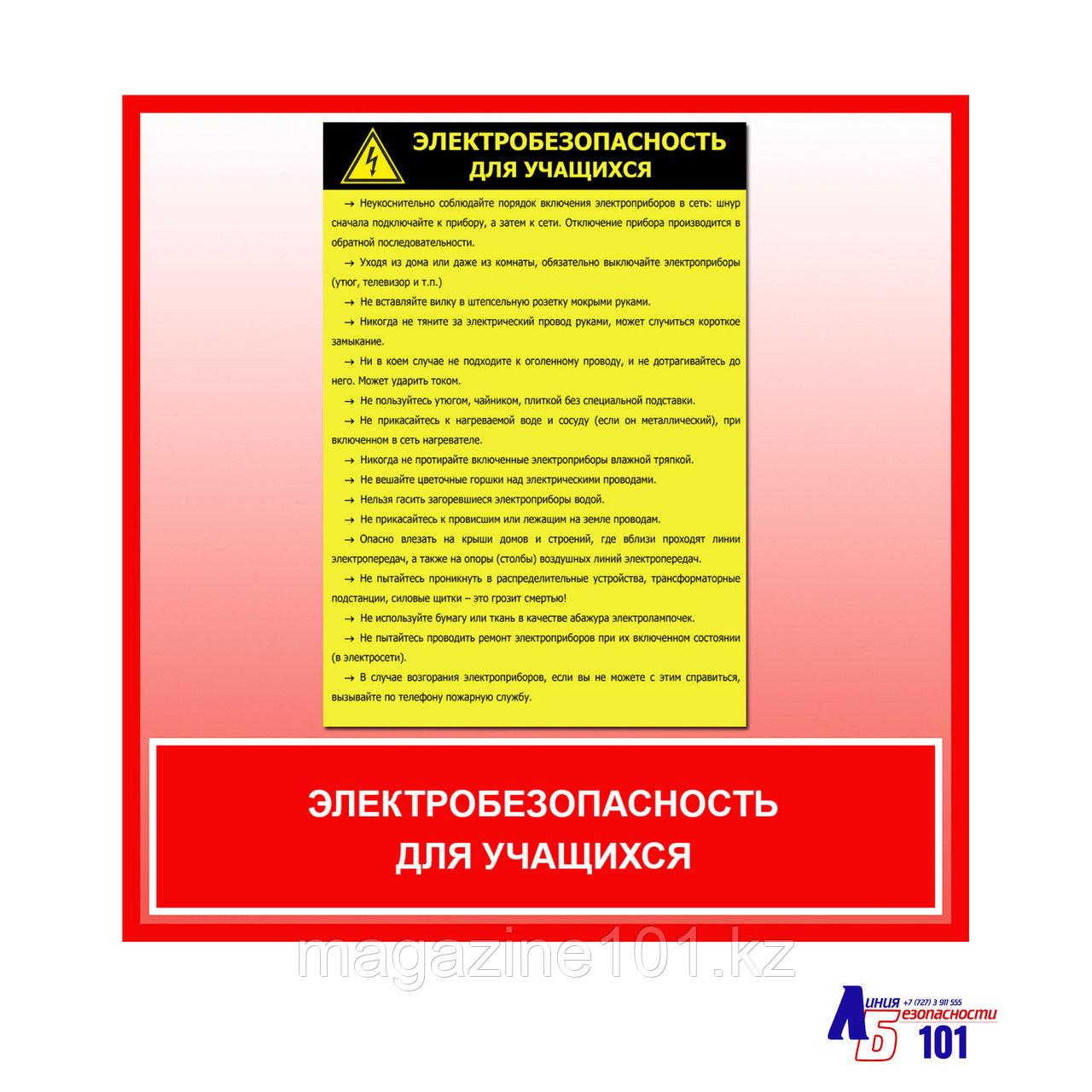 """Плакат """"Электробезопасность для учащихся"""""""