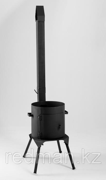 Печь с трубой и дверкой со сварными ножками 10л