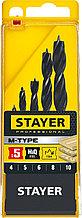 "Набор спиральных сверл по дереву. STAYER ""M-type"" 5 шт, 4-5-6-8-10мм"