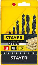 "Набор спиральных сверл по дереву, STAYER ""M-type"" 8 шт., 3-4-5-6-7-8-9-10"