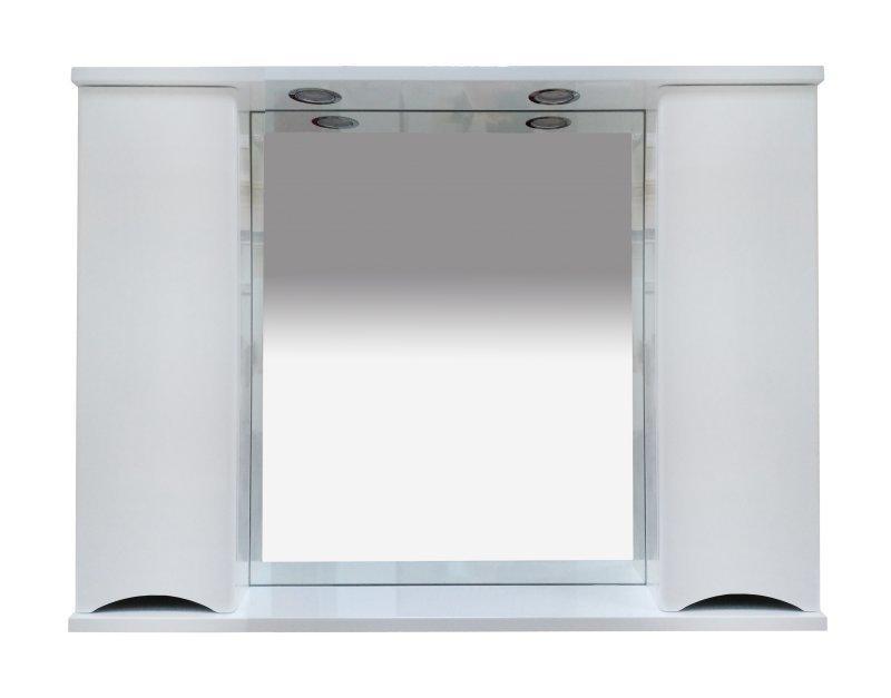 Элвис - 105 Зеркало-шкаф (свет) белая эмаль - фото 1