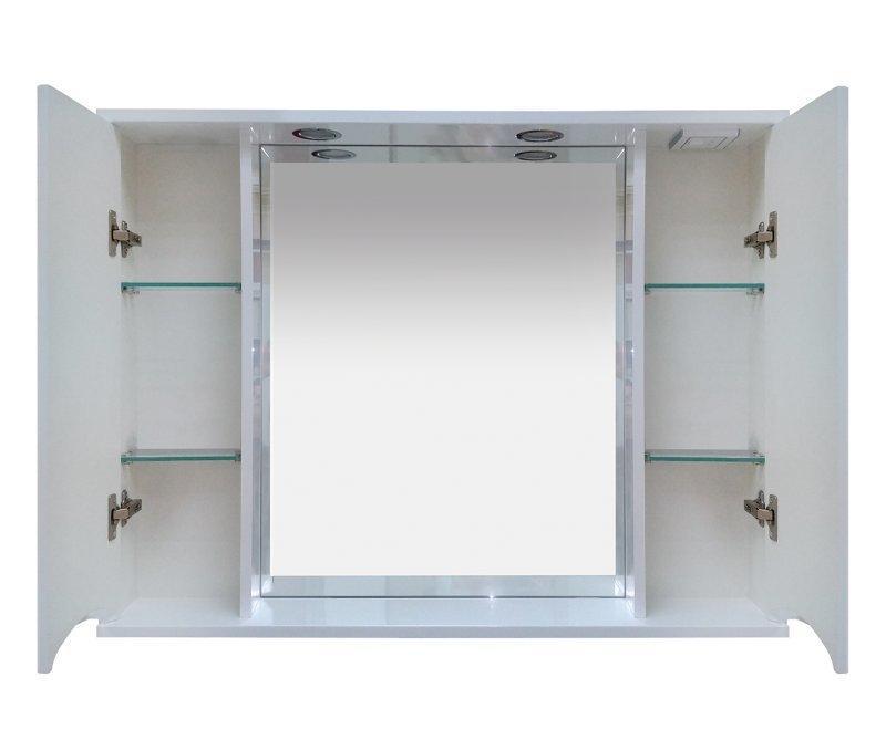 Элвис - 105 Зеркало-шкаф (свет) белая эмаль - фото 2