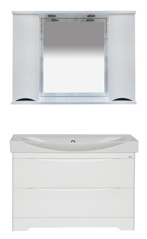 Элвис - 105 Зеркало-шкаф (свет) белая эмаль - фото 3