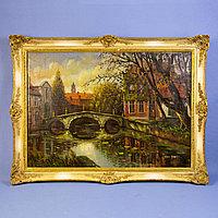 «Пейзаж с мостом» Бельгия. Середина ХХ века Холст, масло Красивая старая рама.