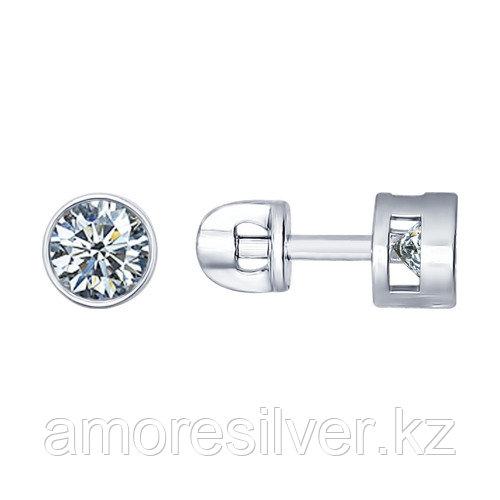Серьги SOKOLOV серебро с родием, фианит  94021745