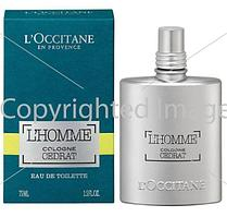 L`Occitane L'Homme Cologne Cedrat туалетная вода объем 75 мл тестер (ОРИГИНАЛ)