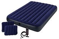 Матрац INTEX надувной,Classic downy (fiber-tech) Квин, 152x203x25см,ручной насос,2 подушки 64765