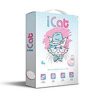 ICat комкующийся белый наполнитель с ароматом детской присыпки 5 кг