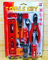 728 Tools set  инструменты красные на картонке 31*21см
