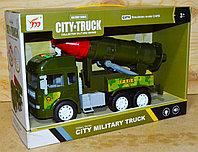 711-1/2 City truck военный трейлер с ракетой 4 функции,звук 34*23см