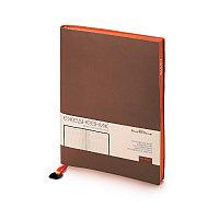 Ежедневник недатированный Mercury, А5, белый блок, оранжевый обрез, ляссе с металлическим шильдом, Коричневый,