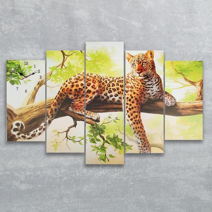 Часы настенные модульные «Леопард на ветке», 80 × 140 см