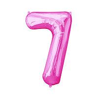 """Шар фольгированный 16"""", цифра 7, индивидуальная упаковка, цвет розовый"""