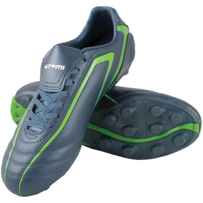 Футбольные бутсы, цвет серо-зелёный, синтетическая кожа, размер 45