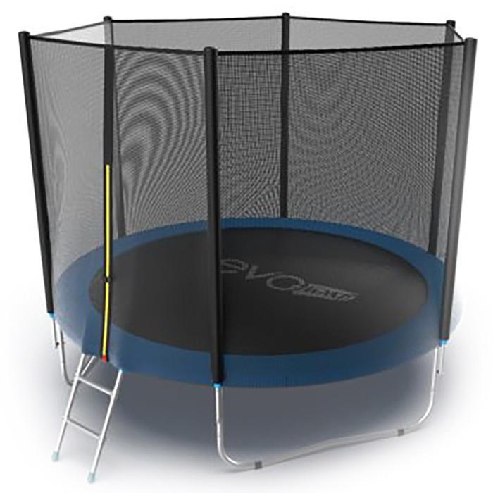 Батут Evo Jump External 10 ft, d=305 см, с внешней сеткой и лестницей, цвет синий - фото 1