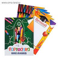 Папка на кольцах «Портфолио школьника», канцтовары, 24,5 х 32 см