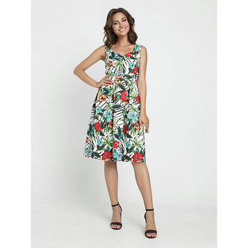 Платье женское, размер 42, цвет белый, красный, зелёный