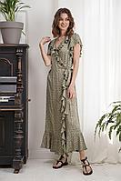 Женское летнее из вискозы зеленое платье Fantazia Mod 3990 48р.