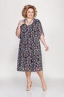 Женское летнее нарядное большого размера платье LaKona 1221 цветок 64р.