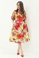 Женское летнее хлопковое нарядное платье Магия моды 1928 красные_цветы 46р.