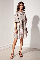 Женское летнее платье Nova Line 50129 бежевый_штрихи 42р.