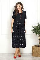 Женское летнее из вискозы синее большого размера платье Solomeya Lux 819 48р.