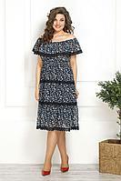 Женское летнее шифоновое синее нарядное большого размера платье Solomeya Lux 817 48р.