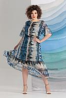 Женское летнее шифоновое синее нарядное большого размера платье Avanti Erika 1213 50р.