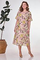 Женское летнее шифоновое большого размера платье Karina deLux B-428А розовый_принт 52р.