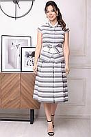 Женский летний нарядный юбочный костюм Мода Юрс 2352 серый-полоска 48р.