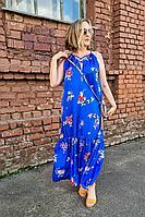 Женский летний из вискозы синий сарафан Shymoda 126-20 светло-синий/цветы 44р.
